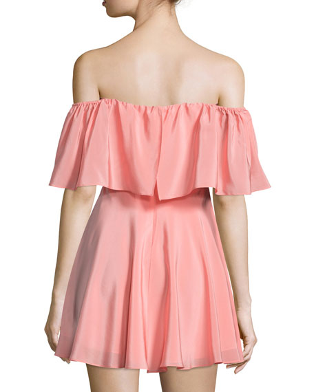 Delilah Off-The-Shoulder Mini Dress, Peach