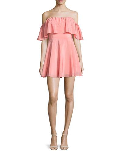 Delilah Off-The-Shoulder Mini Dress, Peach