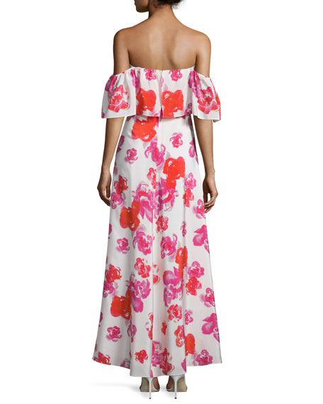 Delilah Off-The-Shoulder Floral Maxi Dress, Red Rose