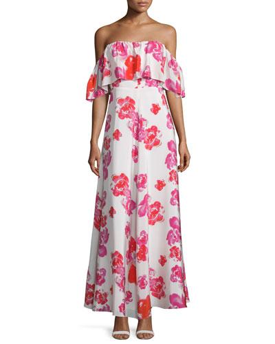 Delilah Off-The-Shoulder Floral Maxi Dress, Red Rose