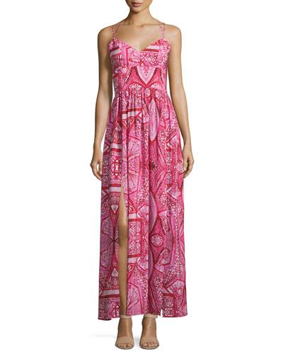 Rio Geometric-Print Maxi Dress, Red Rose