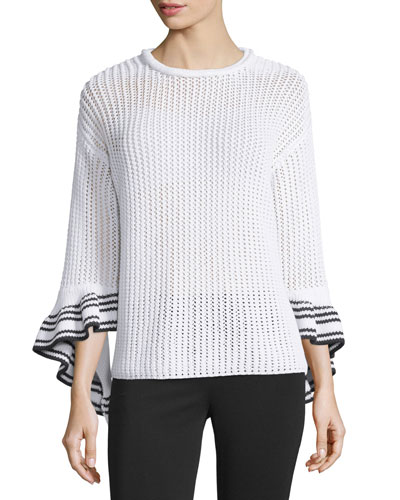 Netted Cotton-Blend Pullover Sweater, White