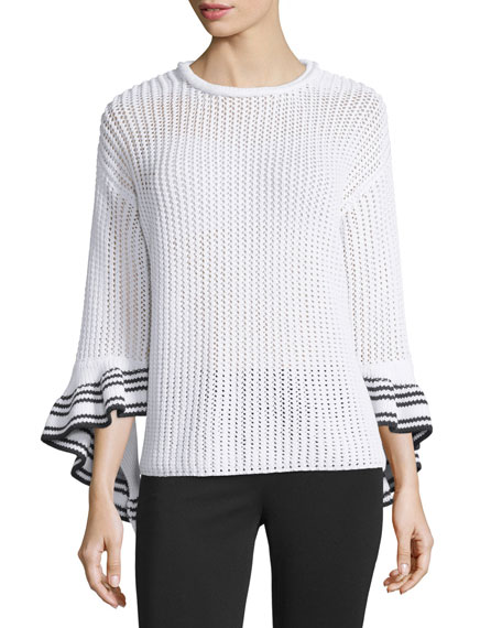 3.1 Phillip Lim Netted Cotton-Blend Pullover Sweater, White