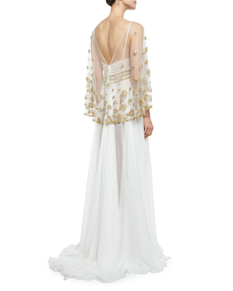 Beaded Lace-Inset Gown with Sheer Overlay, White/Gold