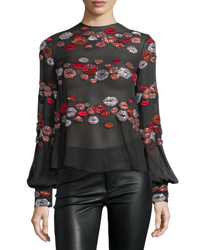 Lip-Appliqué Long-Sleeve Blouse, Black/Multi