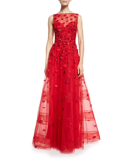 Lip-Appliqué Sleeveless Illusion Gown, Red