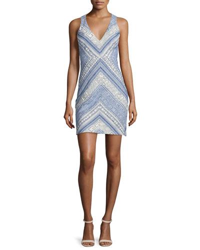 Sleeveless V-Neck Sheath Dress, Grecian Weave
