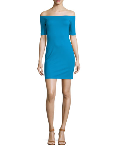 Electra Off-The-Shoulder Mini Dress, Electric Teal