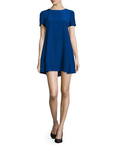 Winthrop Short-Sleeve Mini Dress, Ultramarine