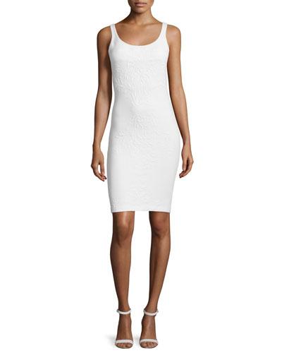 Cubano Sleeveless Sheath Dress, Ivory