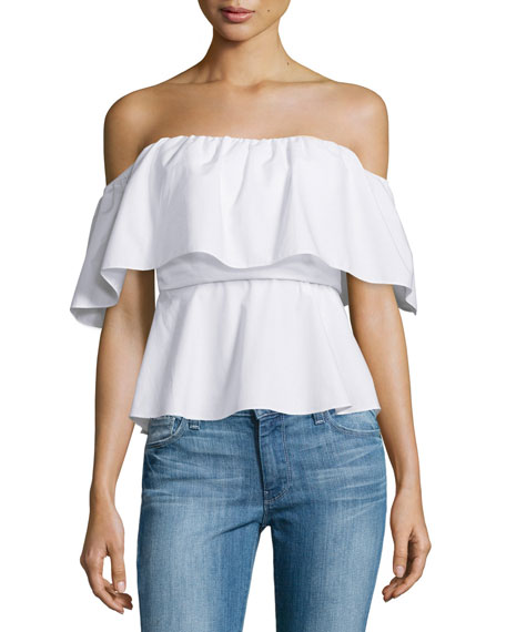 Amanda Uprichard Delilah Off-The-Shoulder Top, White Cotton