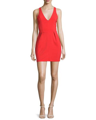 Santiago Crisscross-Back Mini Dress, Candy Apple