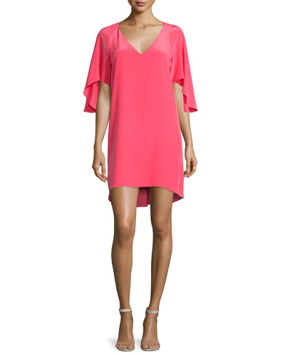 Aerial Flutter-Sleeve Shift Dress, Electric Rouge