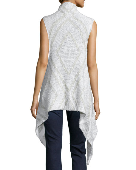 Flint Sleeveless Open-Front Sweater, Whitewater/Chalk