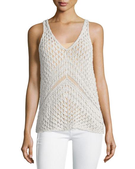 Line Sasha Sleeveless Crochet Top, Nougat