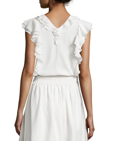Condesa Double-Ruffle Sleeveless Top, White