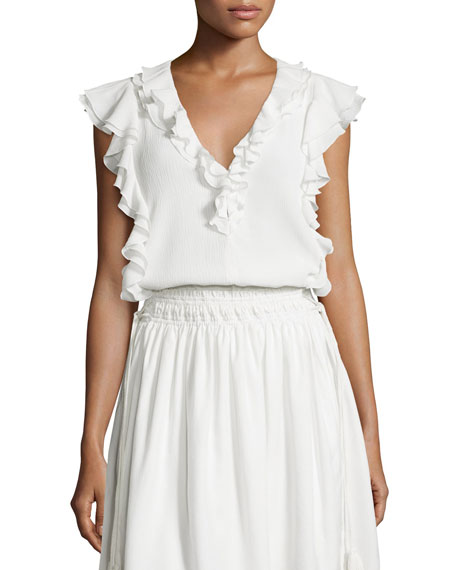 Apiece Apart Condesa Double-Ruffle Sleeveless Top, White