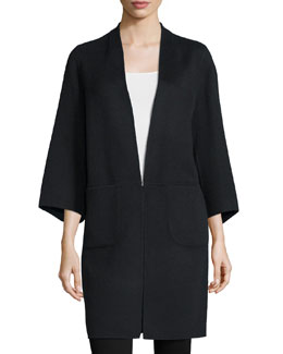 Lauren 3/4-Sleeve Coat, Onyx