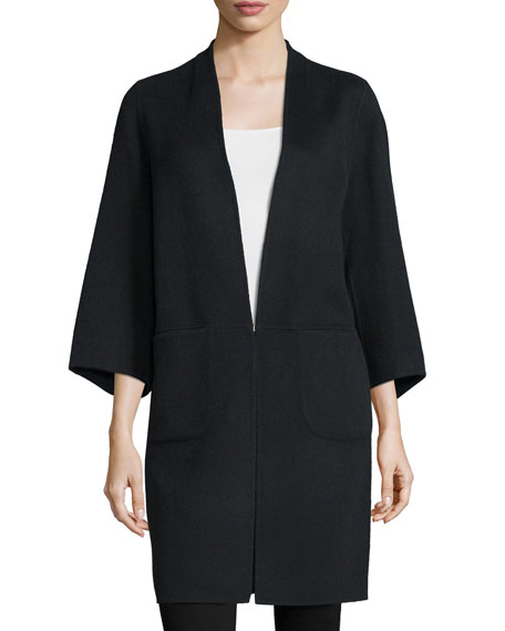 Zac Zac Posen Lauren 3/4-Sleeve Coat, Onyx
