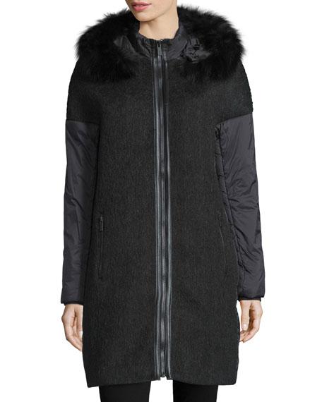 Zac Zac Posen Everly Fur-Trim Zip-Front Coat, Onyx