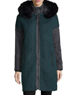 Everly Fur-Trim Zip-Front Coat, Winter Sol