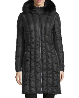Carla Fur-Trim Puffer Coat, Anthracite