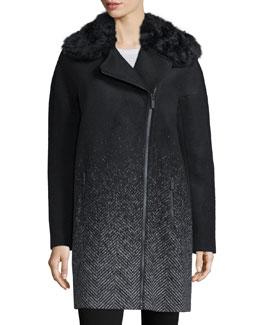 Julienne Ombre Coat W/Fur Collar, Onyx Ombre
