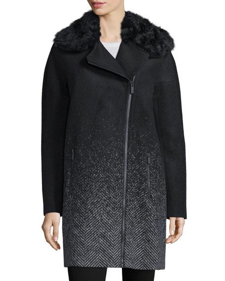 Zac Zac Posen Julienne Ombre Coat W/Fur Collar,