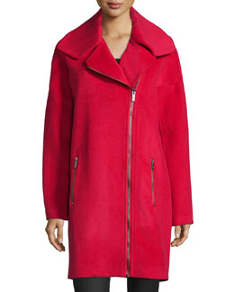 Julienne Asymmetric Zip-Front Coat, Cosmic Crimson