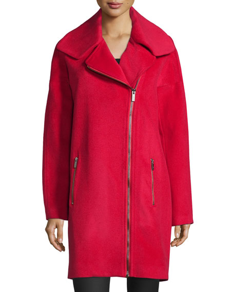 Zac Zac PosenJulienne Asymmetric Zip-Front Coat, Cosmic Crimson