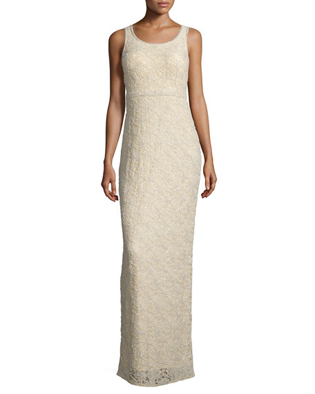 MIGNON Sleeveless Embellished-Lace Column Gown, Buff