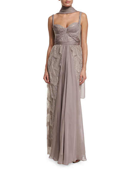 Sleeveless Tiered-Lace Gown w/Shawl, Champagne