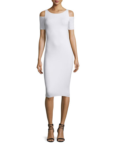 Deneuve Cold-Shoulder Bodycon Dress, White