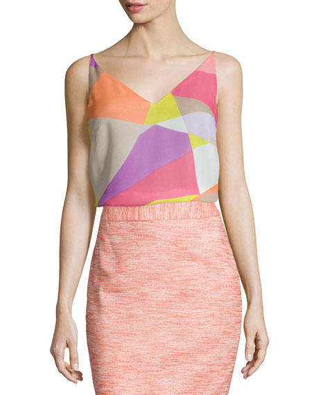 Trina Turk V-Neck Printed Sleeveless Tank
