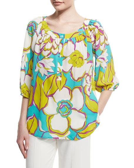 Trina Turk 3/4-Sleeve Floral-Print Top