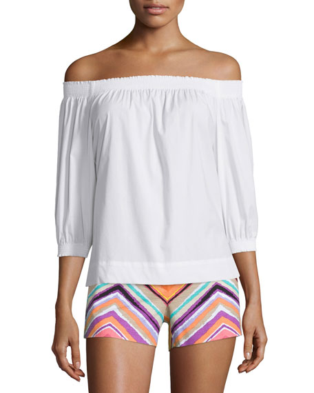 Trina Turk Off-The-Shoulder Pleated Top, White