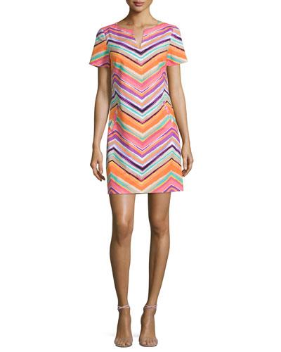 Striped Chevron Short-Sleeve Sheath Dress