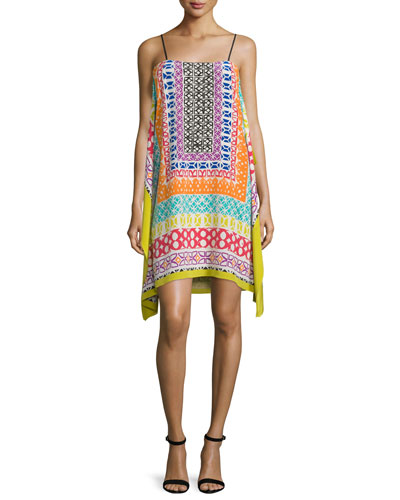 Sleeveless Printed Dress, Multi