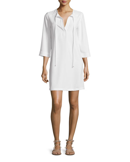 Trina Turk 3/4-Sleeve Tie-Neck Shift Dress