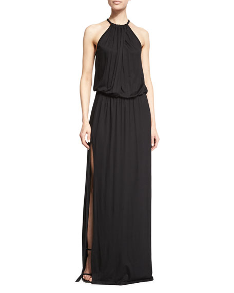 Trina Turk Halter-Neck Draped Maxi Dress, Black