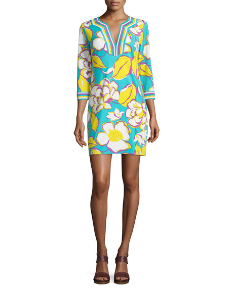 Trina Turk 3/4-Sleeve Floral-Print Tunic Dress, Azure