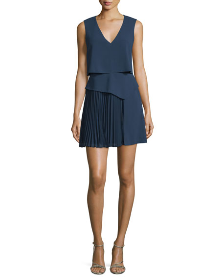 BCBGMAXAZRIA Abilena Sleeveless Popover Cocktail Dress, Navy