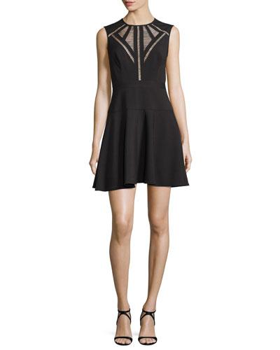Aynn Pointelle-Inset Cocktail Dress, Black