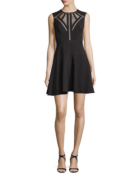 BCBGMAXAZRIA Aynn Pointelle-Inset Cocktail Dress, Black
