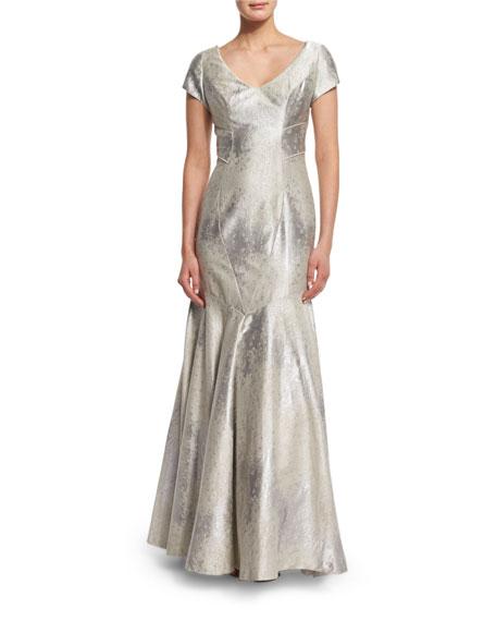 Theia Cap-Sleeve Sateen Mermaid Gown, Oyster