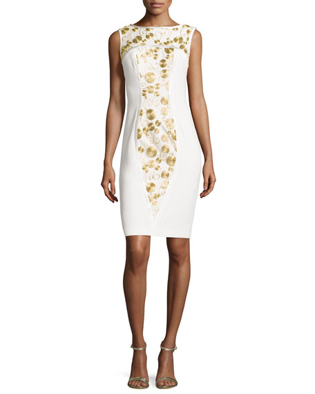 Theia Sleeveless Metallic-Embroidered Sheath Dress, Ivory/Gold