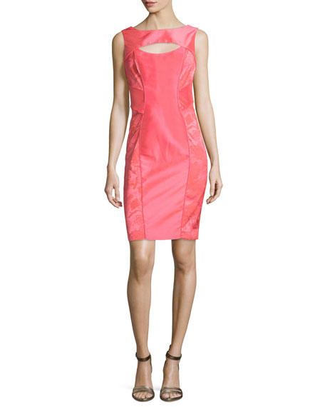 Theia Sleeveless Cutout Organza Sheath Dress, Guava