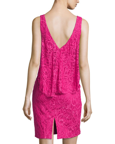 Sleeveless Trompe l'Oeil Lace Dress, Passion Fruit