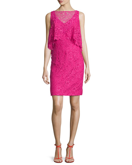 Theia Sleeveless Trompe l'Oeil Lace Dress, Passion Fruit
