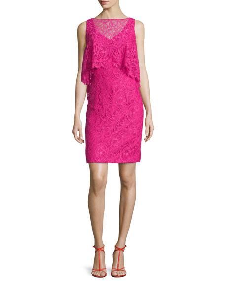 Sleeveless Trompe l'Oeil Lace Dress, Passion Fruit